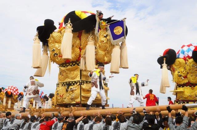 四国中央市 土居秋祭り i飯武太鼓台 2016年関川河川敷