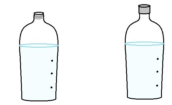 ペットボトル穴放水