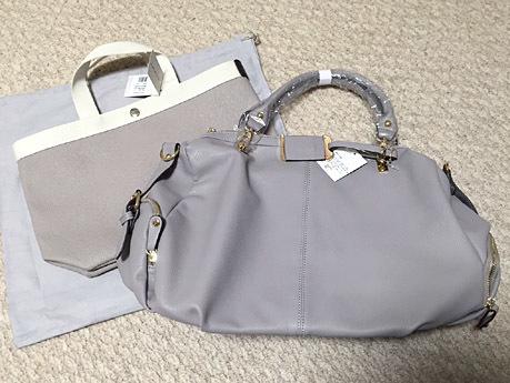 グレー&グレージュのバッグ。右は「エルベシャプリエ」のGP704です!