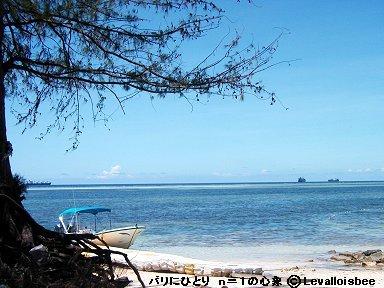 オブジャンビーチは沖まで真っ白の砂downsize