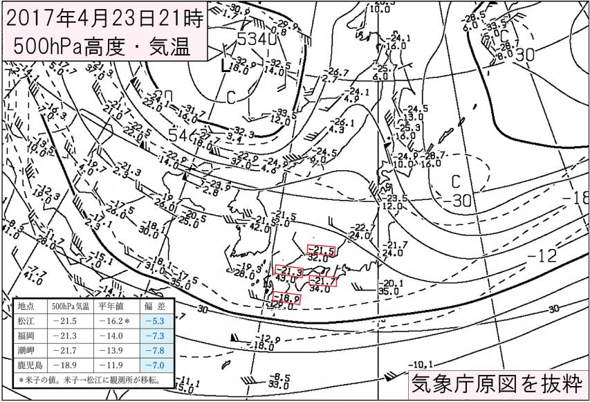 2017年4月23日21時 500hPa高層天気図の抜粋