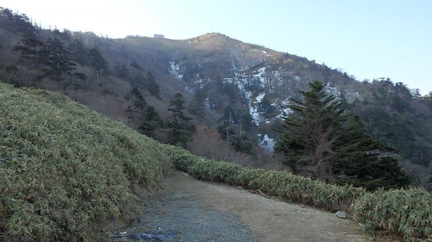 キャンプ場から山頂を見る