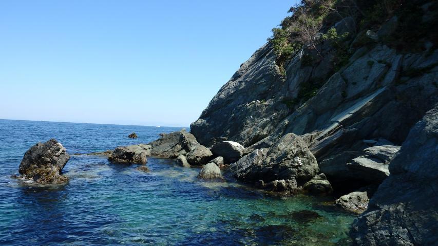 黒崎から東側の岩石海岸