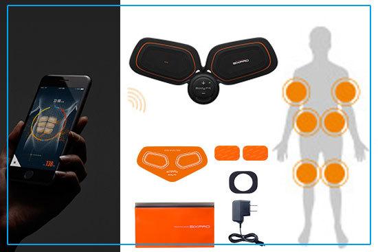SIXPAD Body Fit2の中身はこんな感じです。スマホ操作ができるところがポイントですよ。