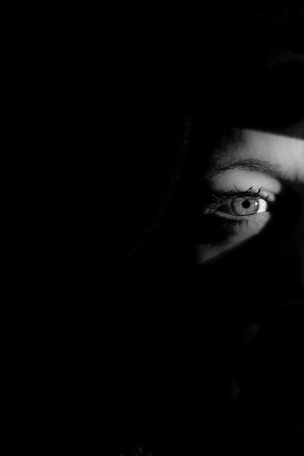 フリー画像・闇の中の目