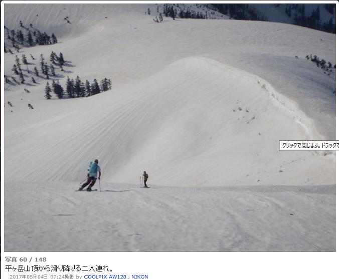 平ケ岳滑降