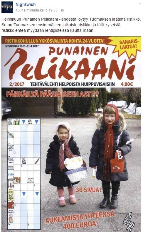 Tuomas Holopainen Ristikko Punainen Pelikaani クロスワードパズル