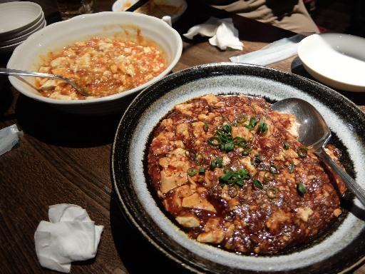 麻婆豆腐と山椒麻婆豆腐