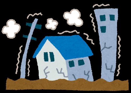 地震、揺れる家