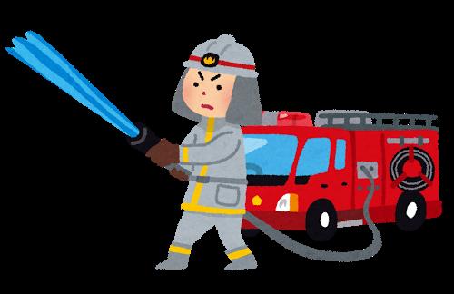消防車、放水