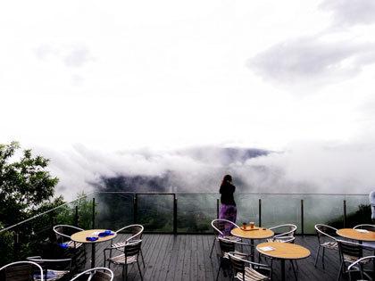 雲海を眺める女性