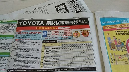 中日新聞 期間従業員募集 201704