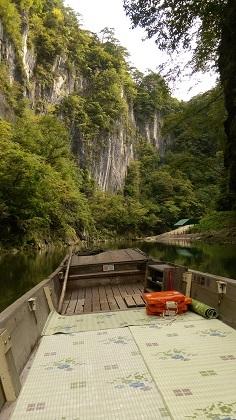 猊鼻渓船からみた景色