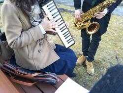鏡山公園で出会ったお二人さん~テナーサックス&鍵盤ハーモニカ20170221
