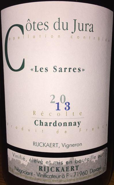 Cotes du Jura Les Sarres Chardonnay Rijckaert 2013