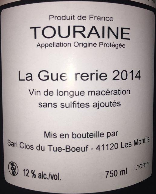 Touraine Rouge La Gueureie Cheverny Blanc Frileuse Qvevri Qvevri Clos du Tue Boeuf 2014
