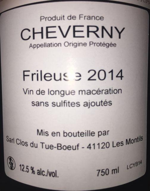 Cheverny Blanc Frileuse Qvevri Clos du Tue Boeuf 2014