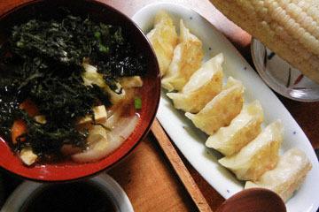 blog Brunch, Atuage, Hijiki, Miso Soup, Gyoza, Sweet Corn & Grapes_DSCN3064-9.30.16.jpg