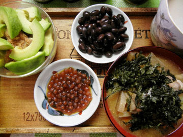 blog Brunch, Avocado & Natto, Kuromame, Ikura, Miso Soup_DSCN3052-9.28.16.jpg