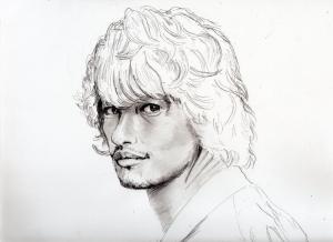 斎藤工の鉛筆画似顔絵途中経過