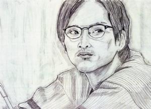 松田龍平の鉛筆画似顔絵修正前