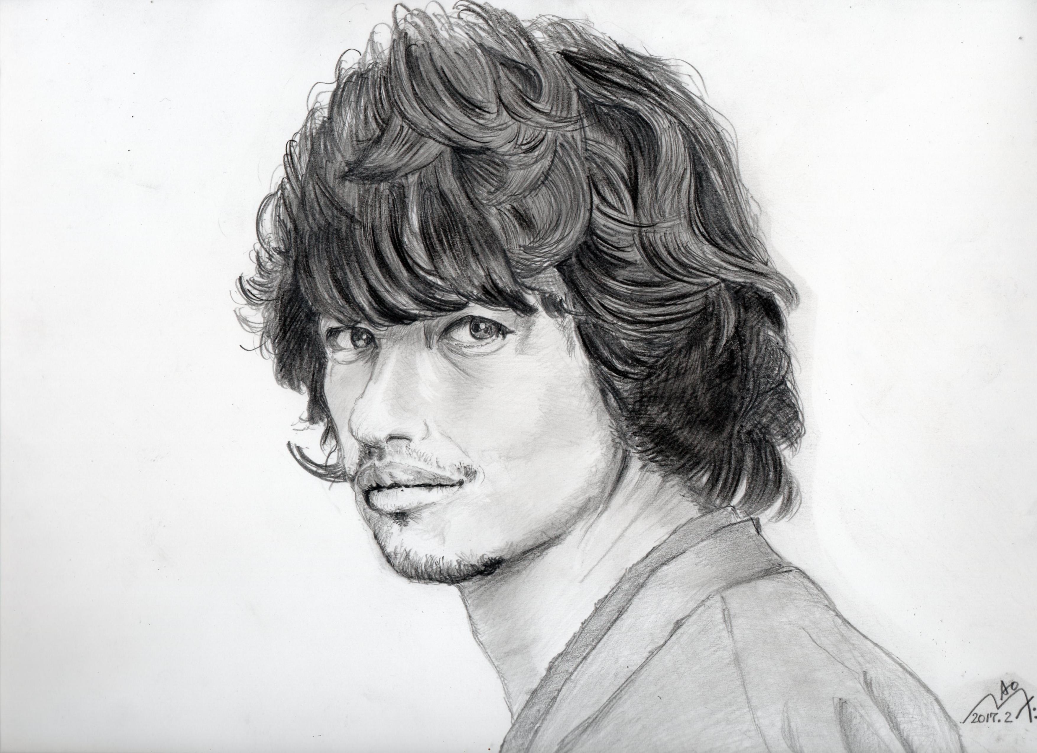 斎藤工の鉛筆画似顔絵