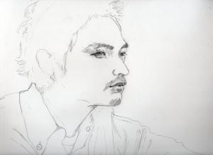 松田龍平の鉛筆画似顔絵途中経過