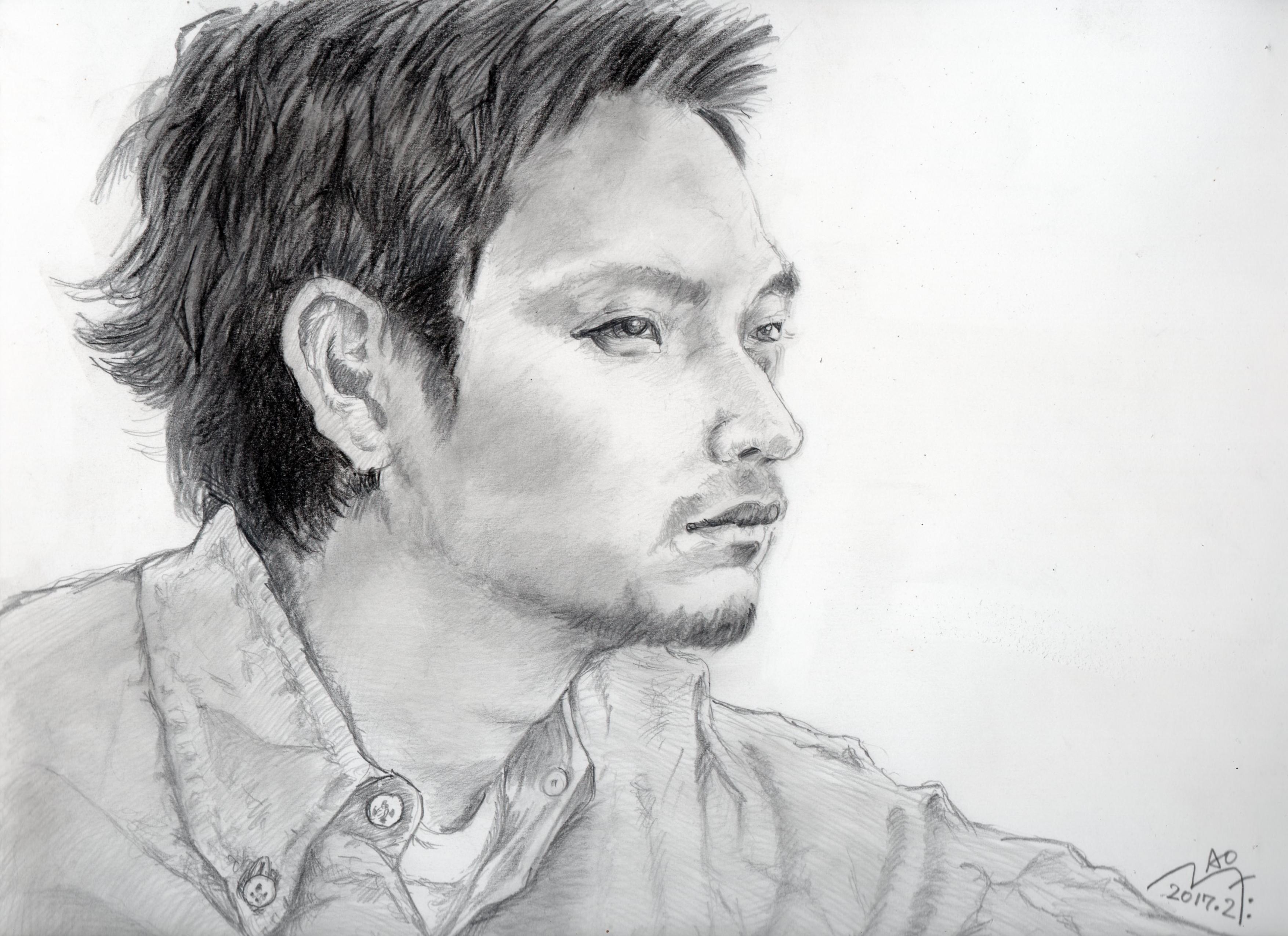 松田龍平の鉛筆画似顔絵