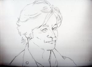 石丸 幹二の鉛筆画似顔絵途中経過