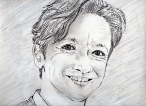 石丸 幹二の鉛筆画似顔絵修正前