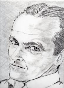 ジャック・ニコルソンの鉛筆画似顔絵修正前