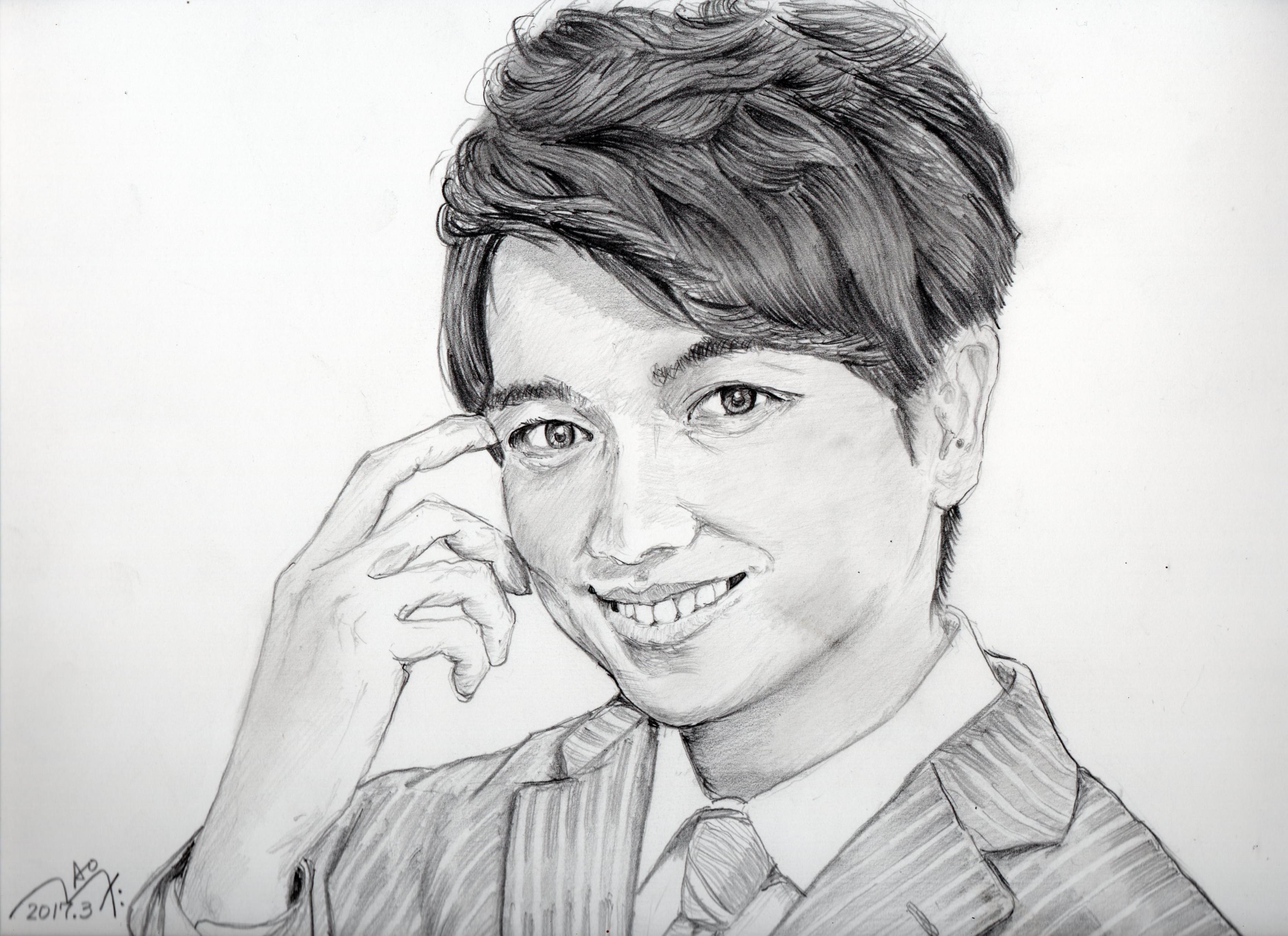 山崎育三郎の鉛筆画似顔絵