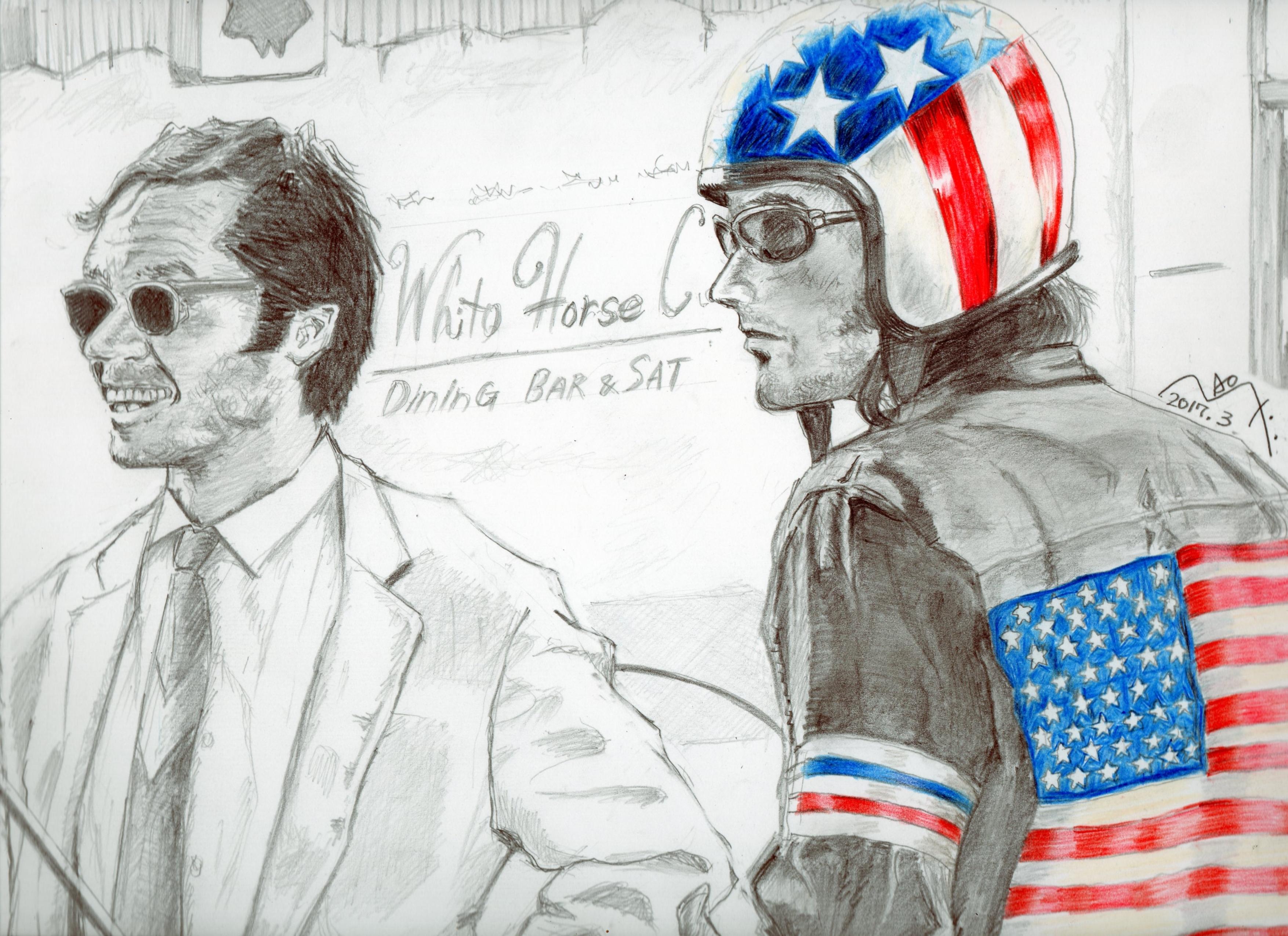 『イージーライダー』ジャック・ニコルソンとピーター・フォンダの鉛筆画似顔絵