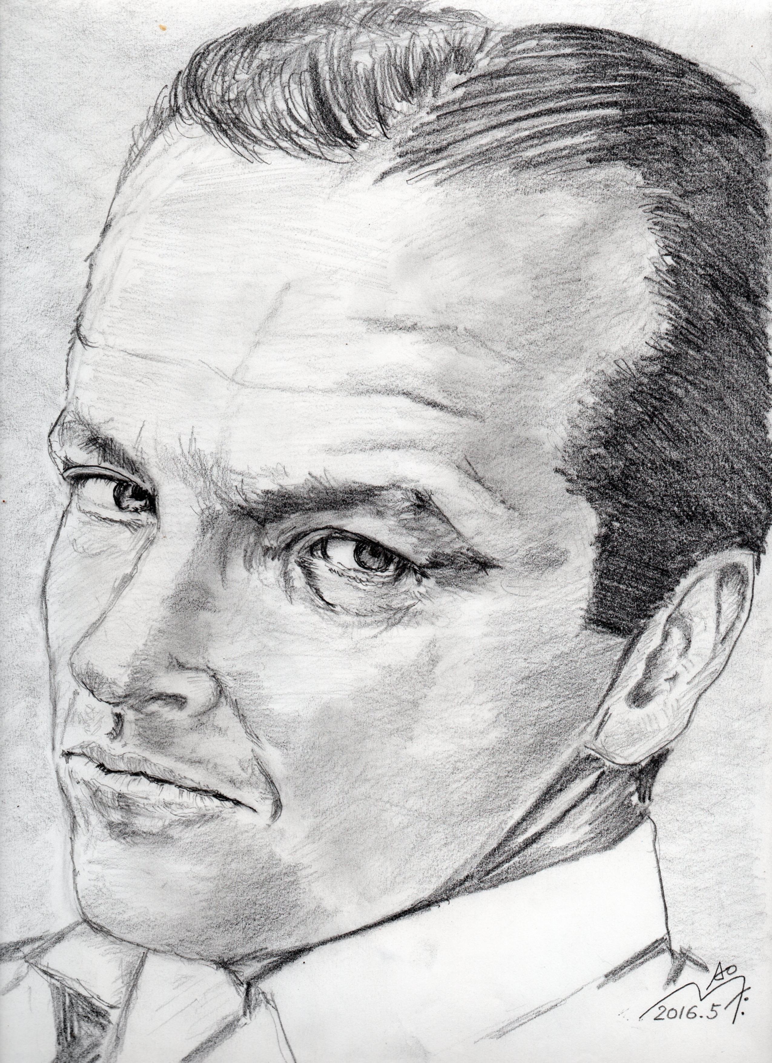 ジャック・ニコルソンの鉛筆画似顔絵