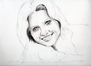 オリビア・ニュートン=ジョンの鉛筆画似顔絵途中経過
