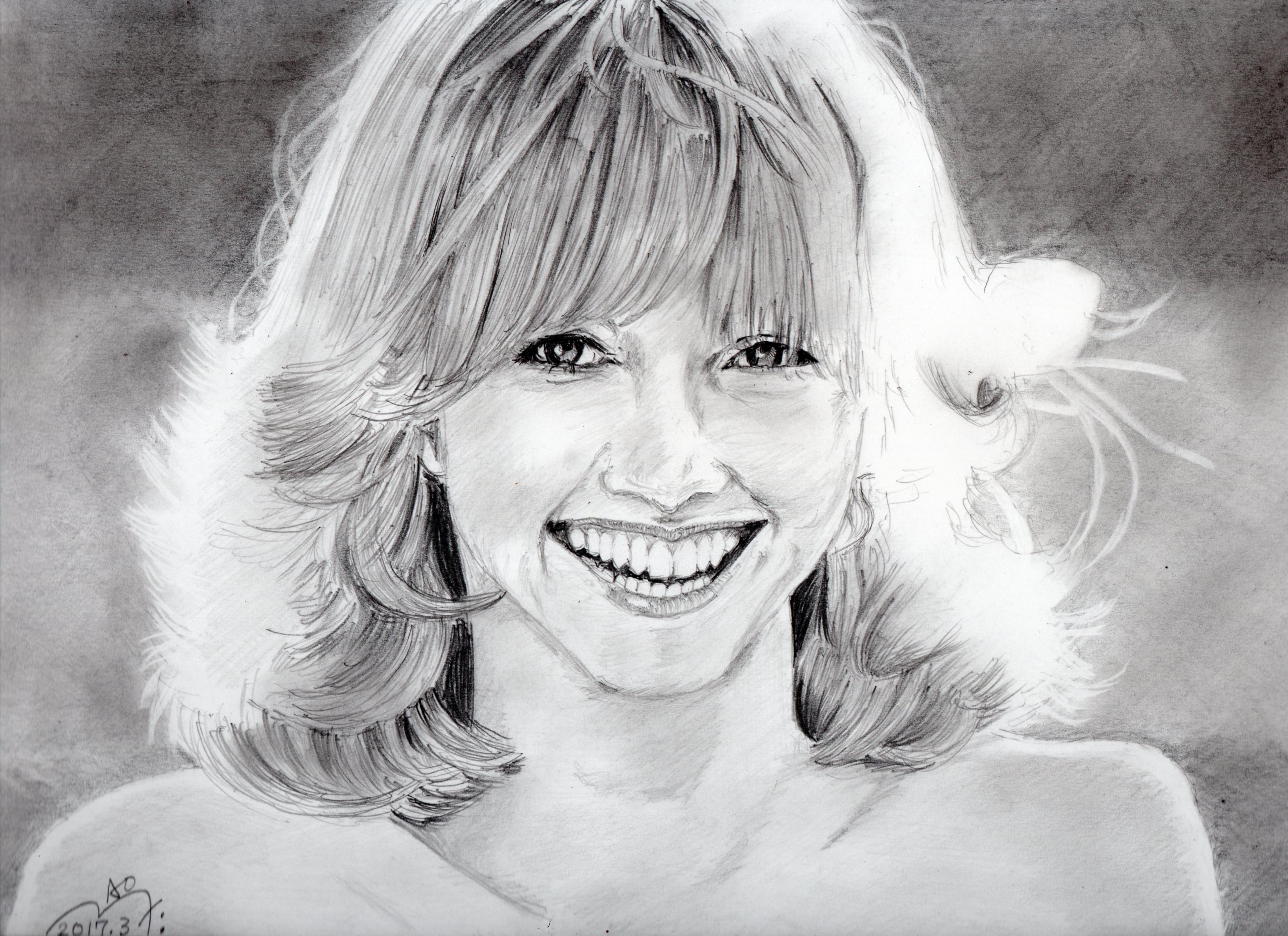 オリビア・ニュートン=ジョンの鉛筆画似顔絵