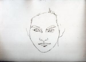 柳楽優弥の鉛筆画似顔絵途中経過