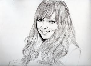 石川恋の鉛筆画似顔絵途中経過