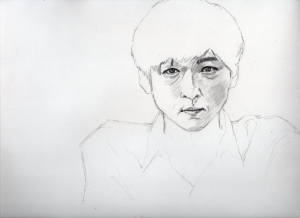 高橋一生の鉛筆画似顔絵途中経過