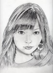 指原莉乃の鉛筆画似顔絵修正前