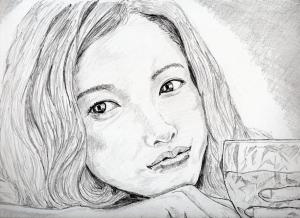 """吉高由里子の鉛筆画似顔絵修正前"""""""""""