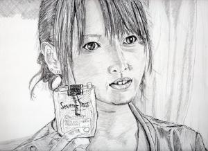 戸田恵梨香の鉛筆画似顔絵修正前