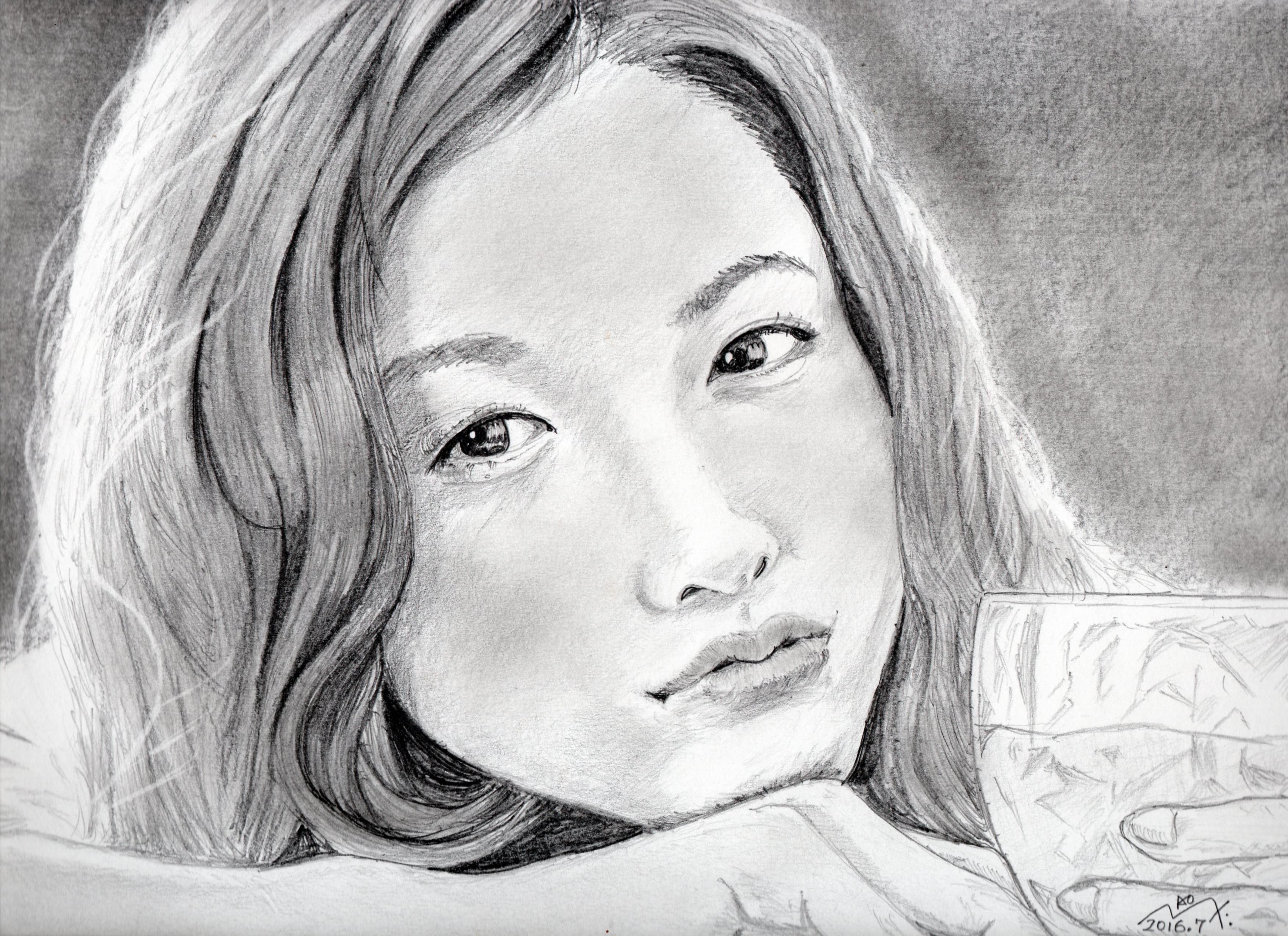 吉高由里子の鉛筆画似顔絵