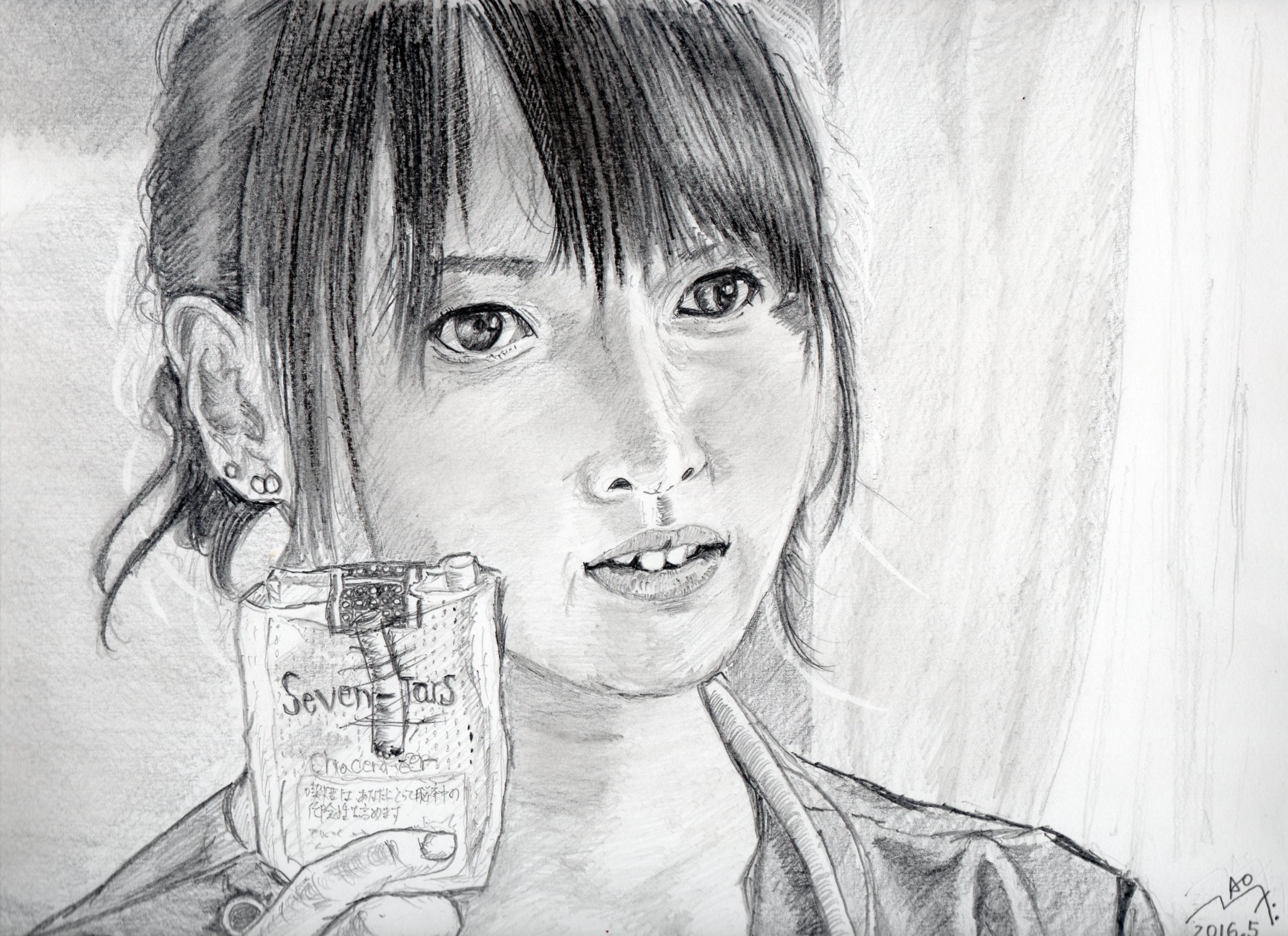 戸田恵梨香の鉛筆画似顔絵