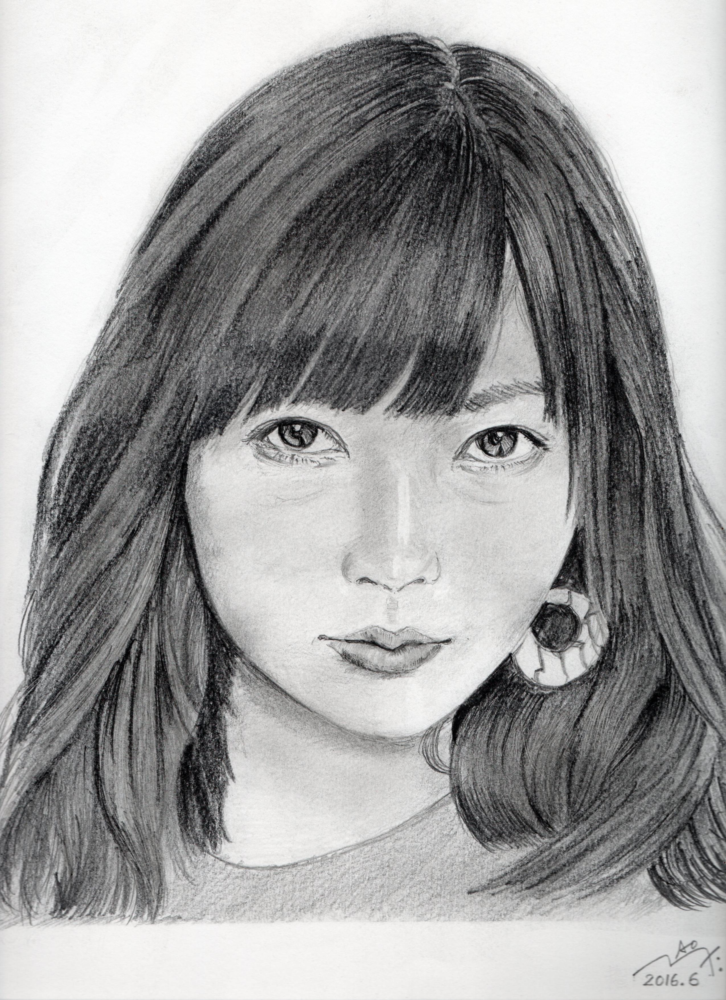 指原莉乃の鉛筆画似顔絵