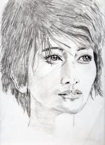 真木よう子の鉛筆画似顔絵修正前