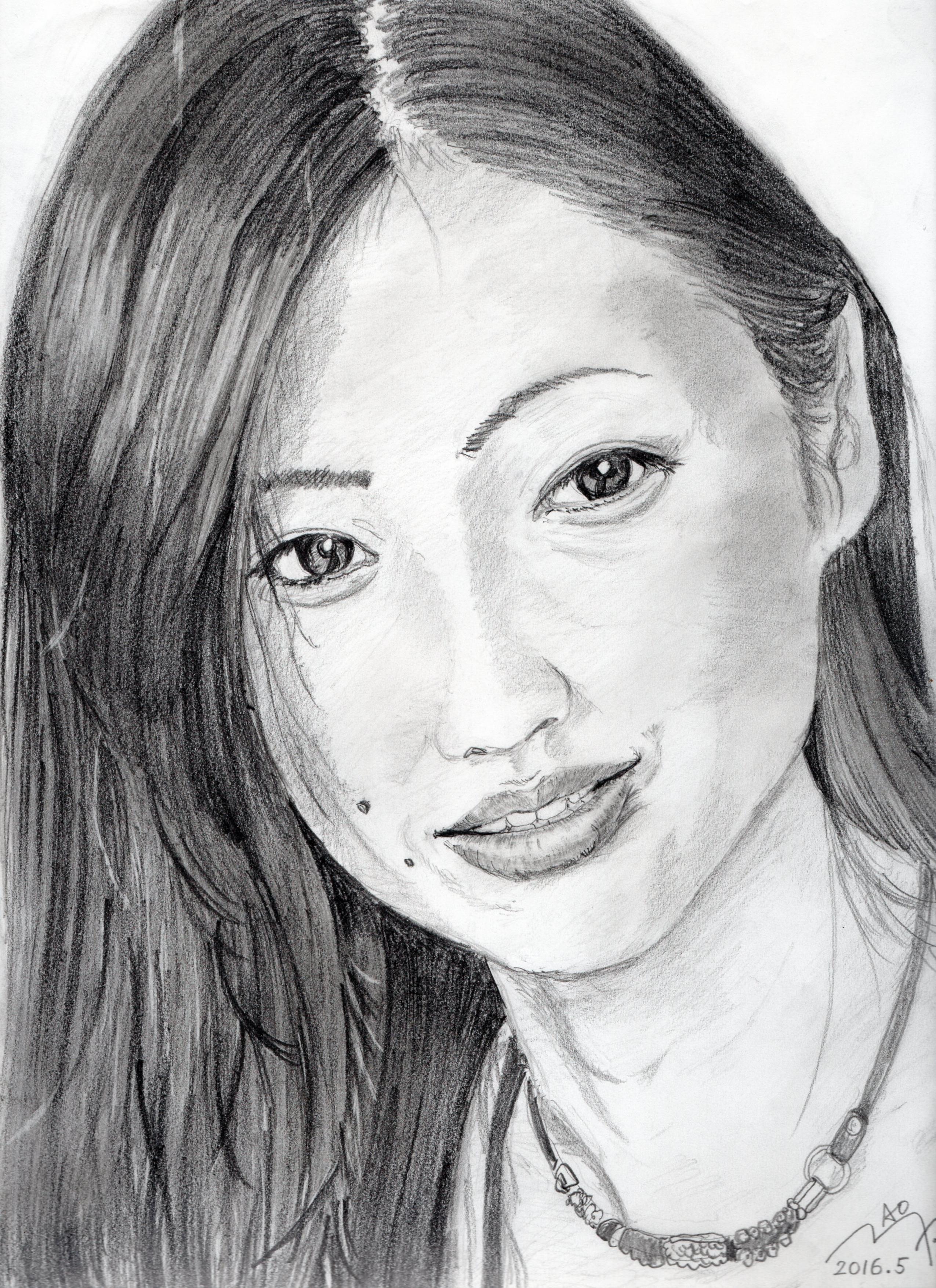 壇蜜の鉛筆画似顔絵
