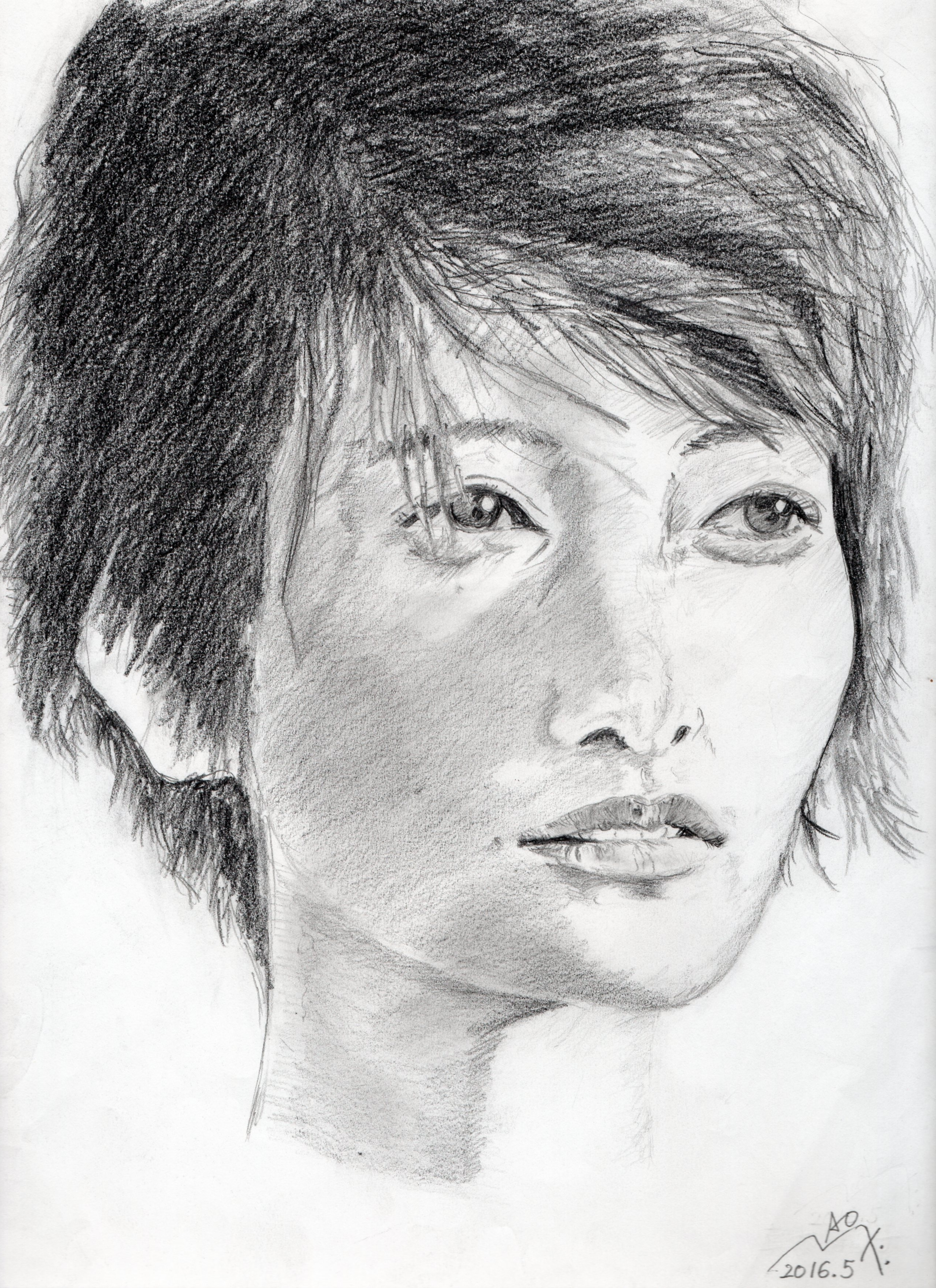 真木よう子の鉛筆画似顔絵