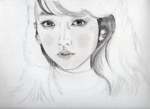 桐谷美玲の鉛筆画似顔絵途中経過