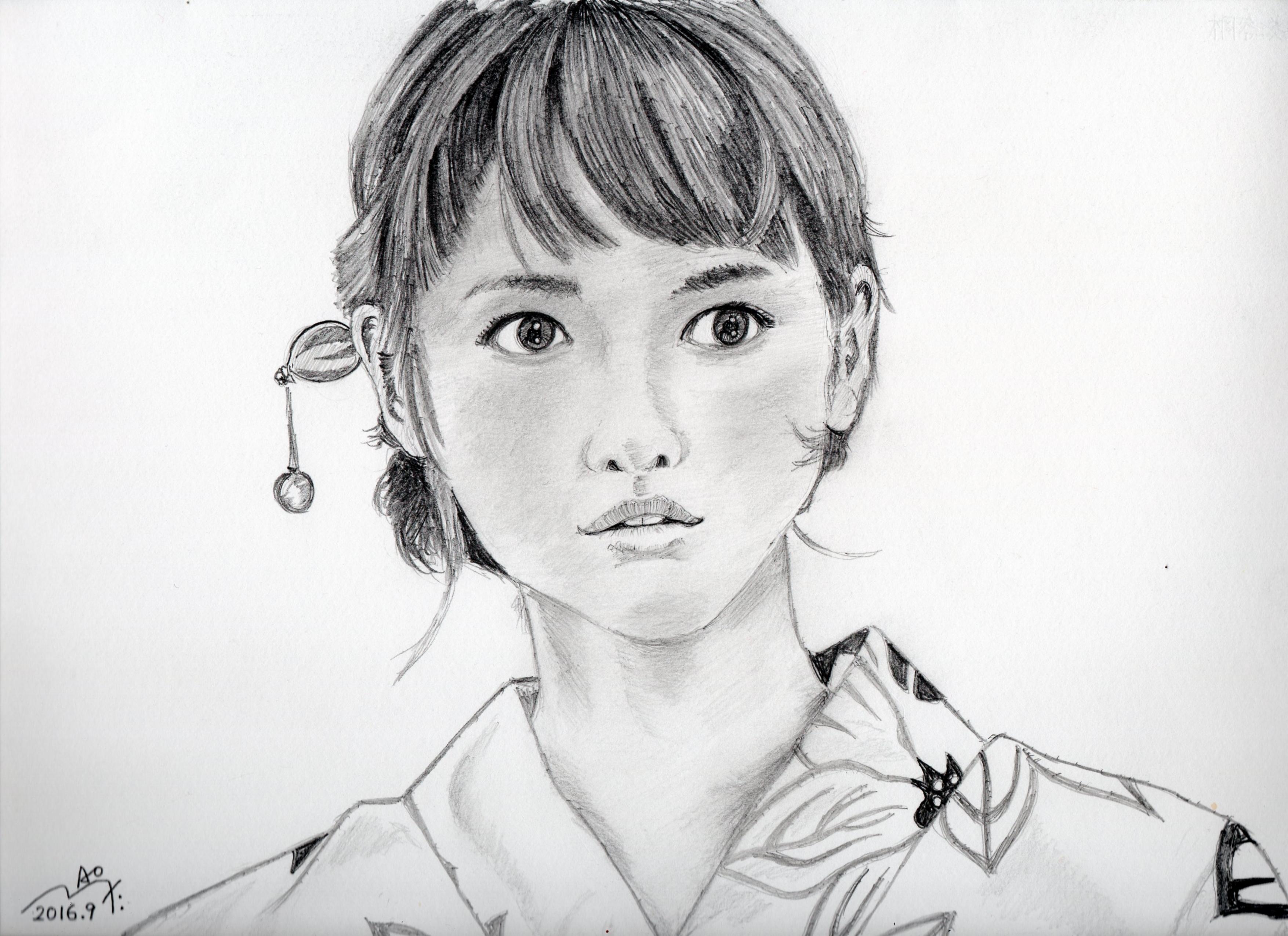 桐谷美玲の浴衣姿の鉛筆画似顔絵